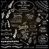Big set of 55 hand drawn design elements. VECTOR. Blue on white Stock Photo