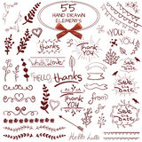 Big set of 55 hand drawn design elements. VECTOR. Red on white with realistic bow Stock Photos