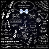 Big set of 55 hand drawn design elements. VECTOR. White on black with realistic white bow Royalty Free Stock Images