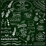 Big set of 55 hand drawn design elements. VECTOR. White on green chalkboard Royalty Free Stock Photos