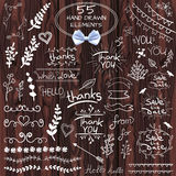 Big set of 55 hand drawn design elements. VECTOR. White on wooden background with realistic bow. Big set of 55 hand drawn design elements. Vintage VECTOR doodles Stock Images