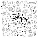Big set of hand drawn doodle cartoon objects and symbols on the birthday party. Hand drawn brush pen lettering Happy birthday. des Stock Images