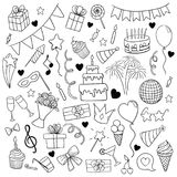 Big set of hand drawn doodle cartoon objects and symbols on the birthday party. design holiday greeting card and invitation of wed Stock Images