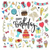 Big set of hand drawn doodle cartoon objects and symbols on the birthday party. Hand drawn brush pen lettering Happy birthday. des Royalty Free Stock Image