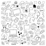 Big set of hand drawn doodle cartoon objects and symbols on the Social Media theme. Stock Image