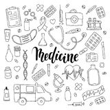 Big set of hand drawn doodle medicine with lettering. Hand drawn calligraphy and brush pen lettering phrase medicine.  Royalty Free Stock Photos