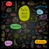Big set of hand drawn food. Big set of color chalk drawn. Food, blackboard background. vegetables, mushrooms, spices. Hand drawn vector illustration Stock Photos