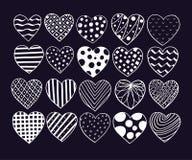 Big set of hand drawn hearts. Valentine vector sketch doodle. Graphic design elements. Trendy textures, lines, dots vector illustration