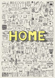 Big set of hand drawn home appliance icons. Home doodles. Stock Photography