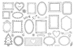 Big set of hand drawn isolated frames and different elements: hearts, banners, flowers, lettering. stock image
