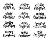 Big Set Of Hand Drawn Modern Type Lettering Merry Christmas Typography Design Stock Image