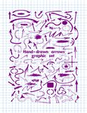 Big set of hand-drawn purple arrows vector illustration