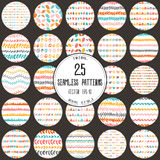 Big set of 25 hand-drawn seamless patterns. Stock Images