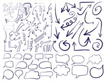 Big set of 83 hand drawn VECTOR arrows and word bubbles in blue and yellow colors. Colored icons isolated on white. Black lines Stock Images