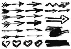 Big set with hand drawn watercolor black arrows, hearts on white background Stock Photos