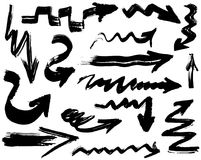 Big set with hand drawn watercolor black arrows on white background Stock Photos