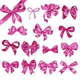 Big set of hand drawn watercolor pink bows.