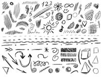 Big set of 105 hand-sketched design elements, VECTOR illustration isolated on white. Black scribble lines. Big set of 105 hand-sketched design elements, pen Stock Photos