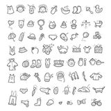 Big set of handwritten icons of childhood things Royalty Free Stock Images