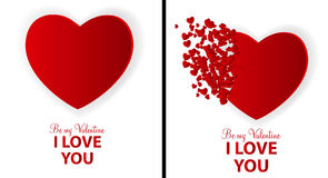 Big Set of Happy Valentines Day Card with Heart. Royalty Free Stock Images