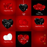 Big Set of Happy Valentines Day Card with Heart. Stock Photography
