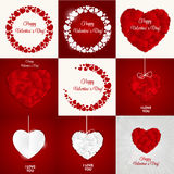 Big Set of Happy Valentines Day Card with Heart. Stock Photos