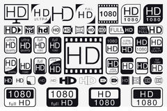 Big Set HD Icons. HD Labels Royalty Free Stock Photography