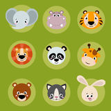 Big set head of animals icons. Royalty Free Stock Photo