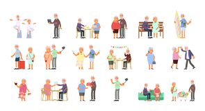 Healthy active lifestyle. Big set of healthy active lifestyle retiree for grandparents. Elderly people characters.  Grandparents family Seniors isolated on white Royalty Free Stock Photography