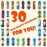 Big set of 30 high quality skateboards and skateboarding elements street style. Stock Photo