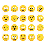 Big set of 20 high quality vector cartoonish emoticons, in flat design style. Funny different style design. Set of twenty cartoonish emoji emoticons in flat royalty free illustration