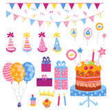 Big set of a holiday attributes. Big set of celebratory attributes such as birthday celebrations Stock Photo