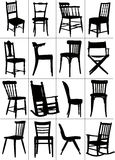 Big set of home chair silhouettes Stock Images