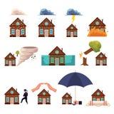 Big set of house insurance cartoon style icons. Set of house insurance icons - protection from hurricane, fire, flood, theft, falling trees, lightning, cartoon Stock Images
