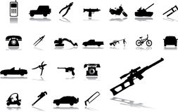 Big set icons - 15. Machines and technologies. Vector images with cars, weapon, tools etc stock illustration