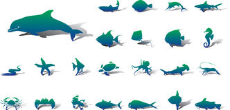 Big set icons - 20A. Fish. Fish and other marine animals for your design Stock Photo