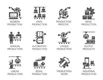 Big set of icons in flat style of automatic and manual production. 12 black web graphic pictograms. 64x64 Pixel Perfect. Big set of icons in flat style of royalty free illustration