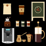 Big set of icons in flat style. Stylish coffee set of icons. Coffee, coffee drinks, coffee pots, and other devices Royalty Free Stock Photography