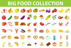 Big set icons food, flat style. Fruits, vegetables, meat, fish, bread, milk, sweets. Meal icon on white. Background Ingredients collection Vector illustration