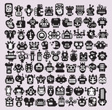 Big set of icons with monsters and robots faces. Vector illustration royalty free illustration