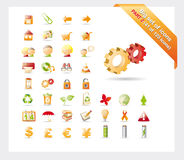 Big set of icons: PART 2 - see parts 1 and 3. Big set of glossy icons for web, applications, email: PART 2 - see parts 1 and 3 stock illustration