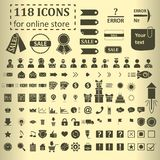 Big set of 118 icons for website online store Stock Photography