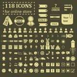 Big set of 118 icons for website online store Royalty Free Stock Images