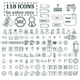 Big set of 118 icons for website online store Royalty Free Stock Photo