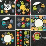 Big set of  illustrations with cute  monsters. Big set of patterns and illustrations with cute little monsters. Vector Stock Photos