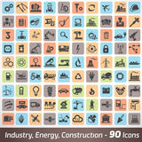 Big set of industry, engineering and construction icons. And symbol, technology and process concept stock illustration