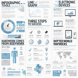 Big set of infographic elements blue business colo stock illustration