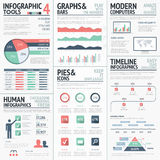 Big set of infographic elements red green vector Stock Images