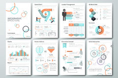 Big set of infographic vector elements and business brochures Stock Images