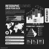 Big set of infographics elements in black and white colors Royalty Free Stock Photos